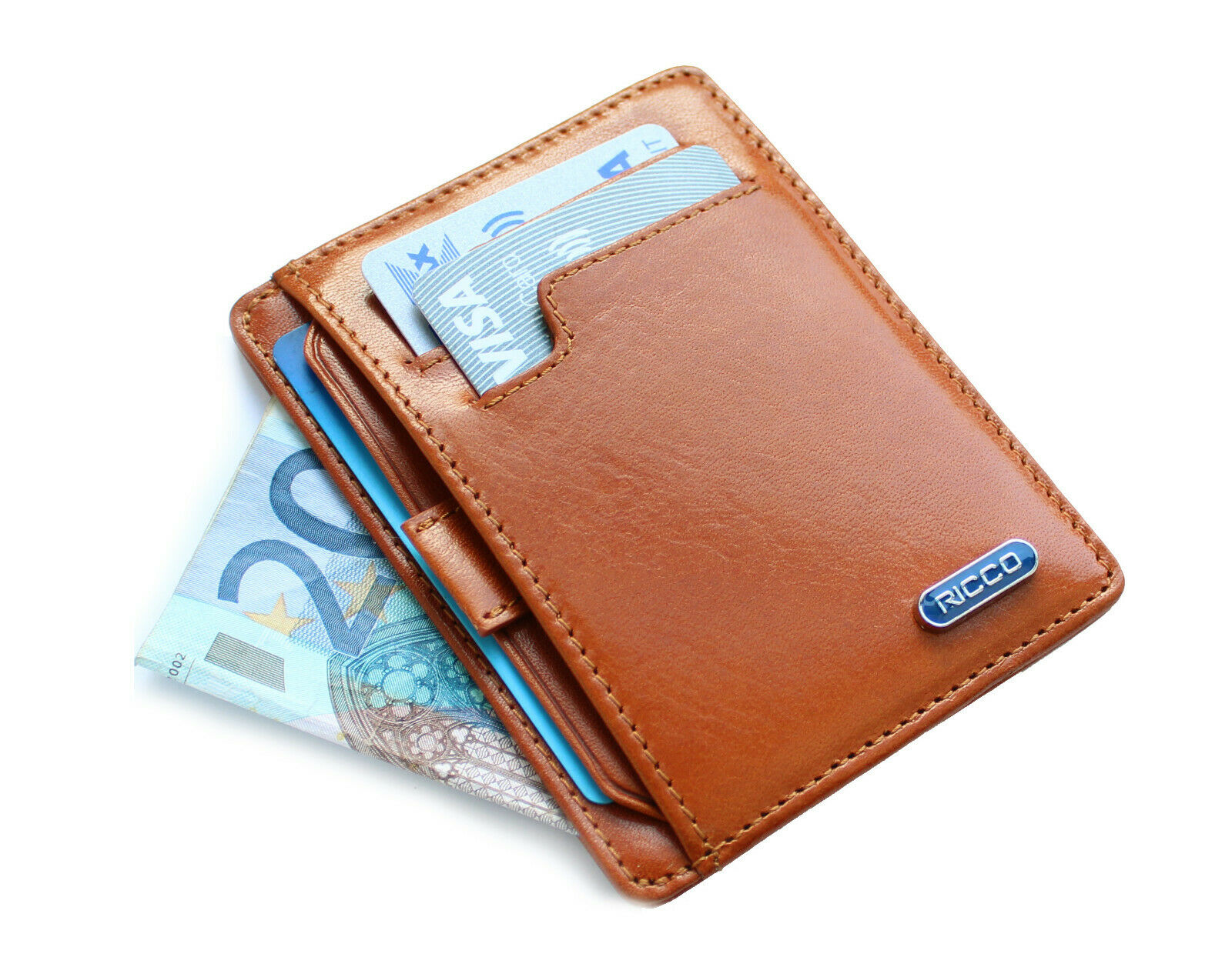 RICCO Italian Leather Front Pocket RFID Thin Cardholder Minimalist Wallet S11