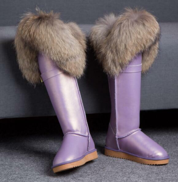 Women's Luxury Over Knee Faux Fox Fur Waterproof Snow Boot Casual shoes Flat