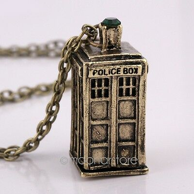 Vintage Retro Doctor Who Police Box Pendant Necklace Charms Dangle Collection