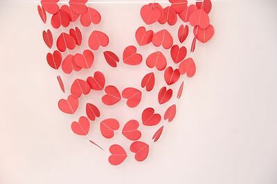 10ft Coral red love heart paper Garland string wedding baby shower Party Decor