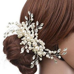 New-Women-Wedding-Jewelry-Clip-di-capelli-Crystal-Pearl-Flower-Tiara-HairAcc-LFI