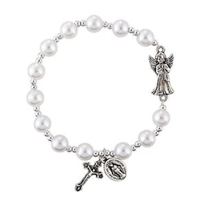 Image is loading Girls-First-Holy-Communion-Gift-Guardian-Angel-Faux-
