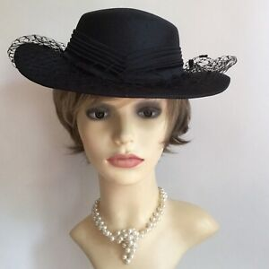 Vintage-1990s-Hand-Made-Black-Formal-Hat-Spotted-Net-Satin-Pleated-Ribbon-amp-Bow