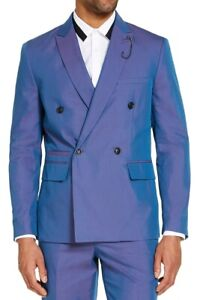 INC Mens Blazer Blue Purple Size XL Slim-Fit Double-Breasted Iridescent $149 339