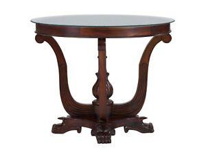 Beistelltisch D75cm Wohnzimmertisch Glastisch rund Holz antik braun ...