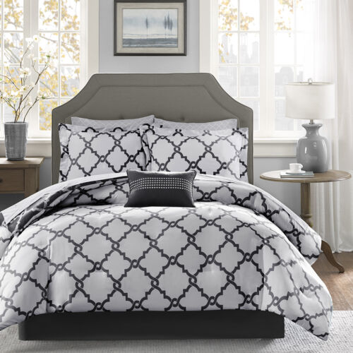 NEW! ~ COZY CHIC MODERN BLACK GREY WHITE SILVER BED IN BAG COMFORTER SHEET SET