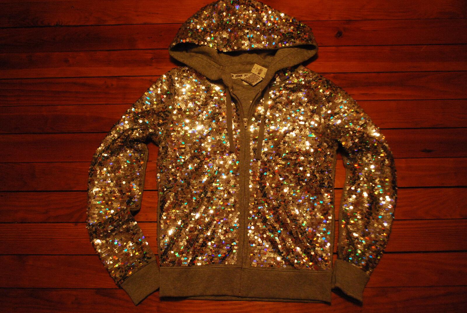 NEW Victoria's Secret VS PINK Fashion Show Sequin Bling Hoodie (XS S M L) Rare