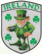 Ireland Irish Leprechaun and Shamrock Internal Car Window Sticker Decal