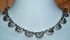 "Vintage Costume Fashion Jewelry Necklace CORA 15"" Silver Tone Sea Shells Choker"