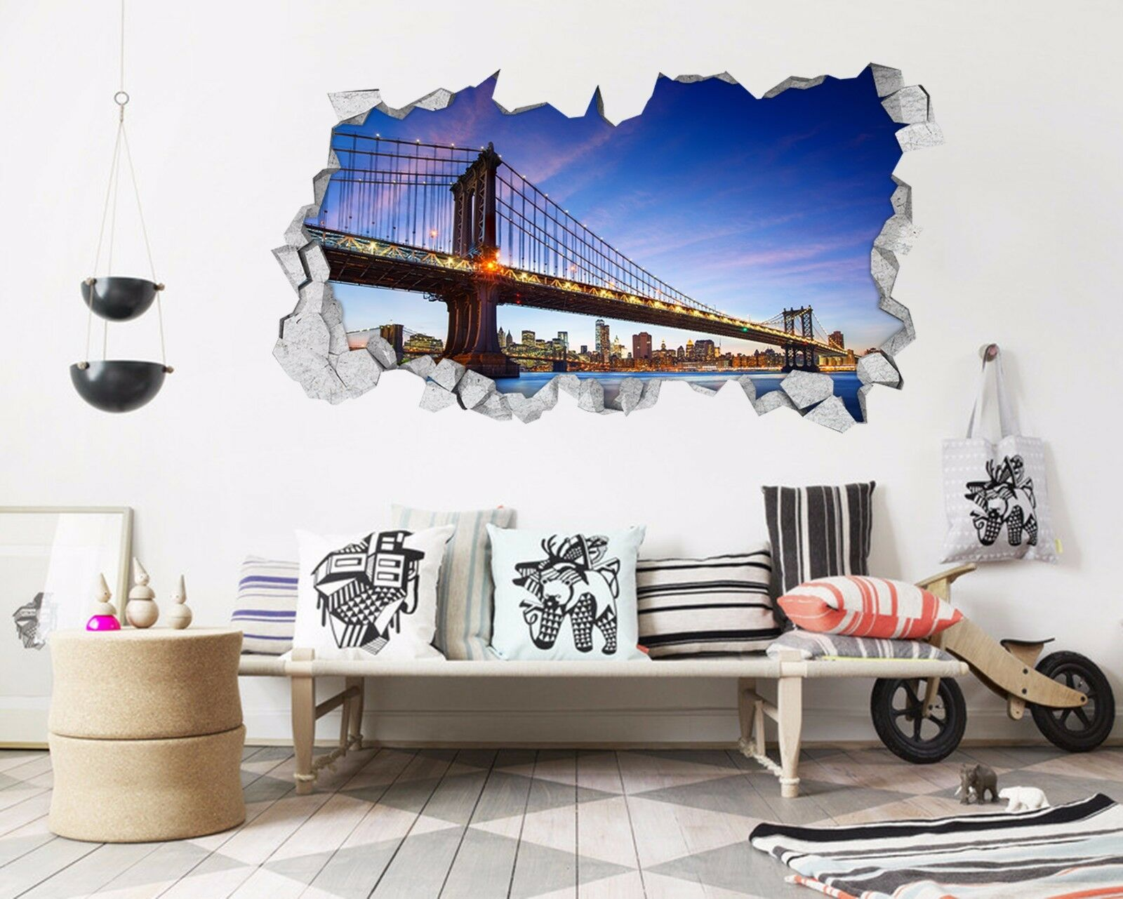 3D  New York Ponte 229 Parete Murales Adesivi Decal Sfondamento AJ WALLPAPER IT