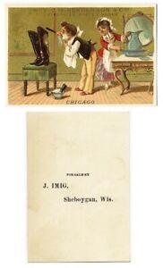 Sheboygan WI Henderson BOOTS SHOES J Imig VICTORIAN Trade Card MAN SHAVING