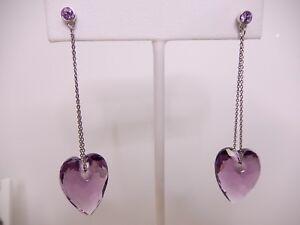 Details About Signed Swarovski Earrings Nectar Drop Violet Pierced Purple Heart 1090165