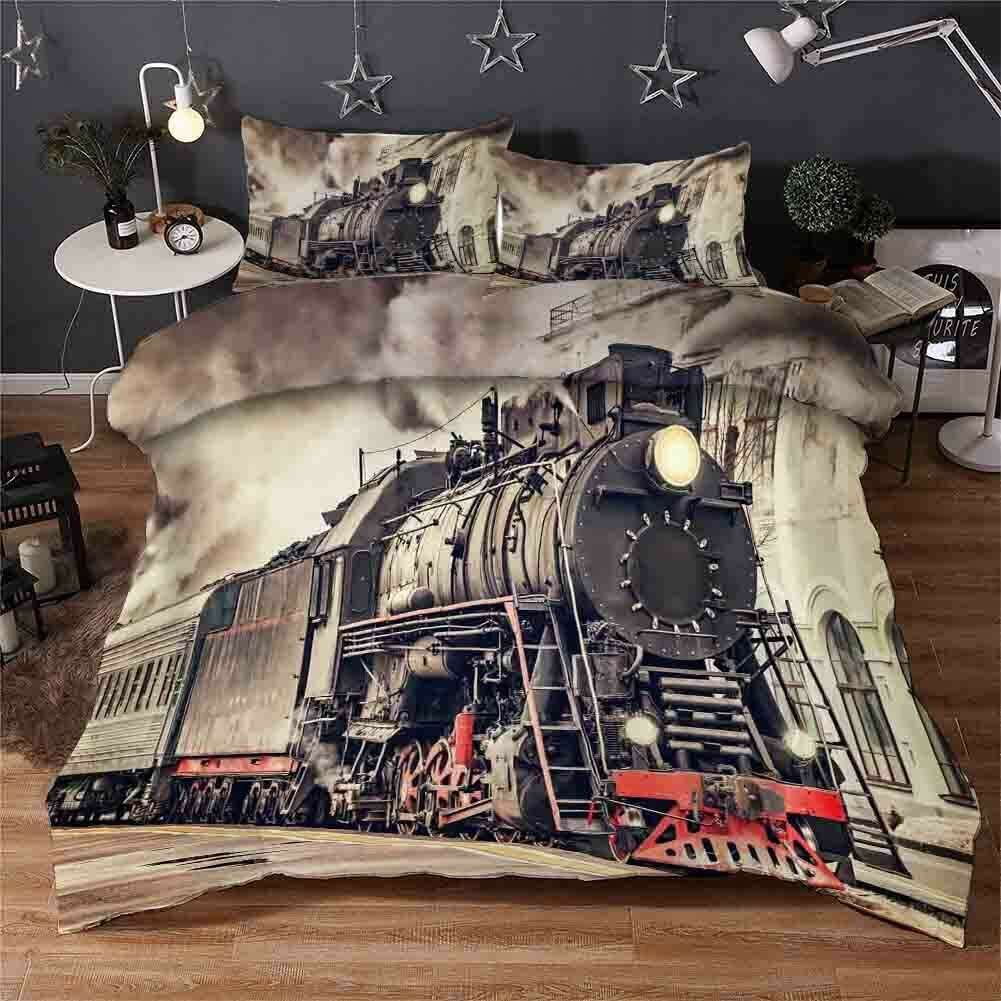 grau Locomotive 3D Printing Duvet Quilt Doona Covers Pillow Case Bedding Sets