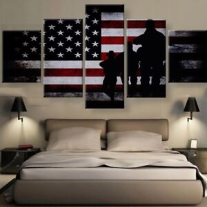 Image Is Loading 5pcs Canvas Veteran Pride American Army Wall Art