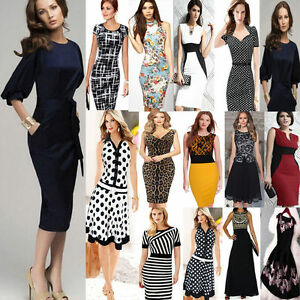 Women-Elegant-Career-Bodycon-Evening-Party-Wear-to-Work-Business-Office-Dress
