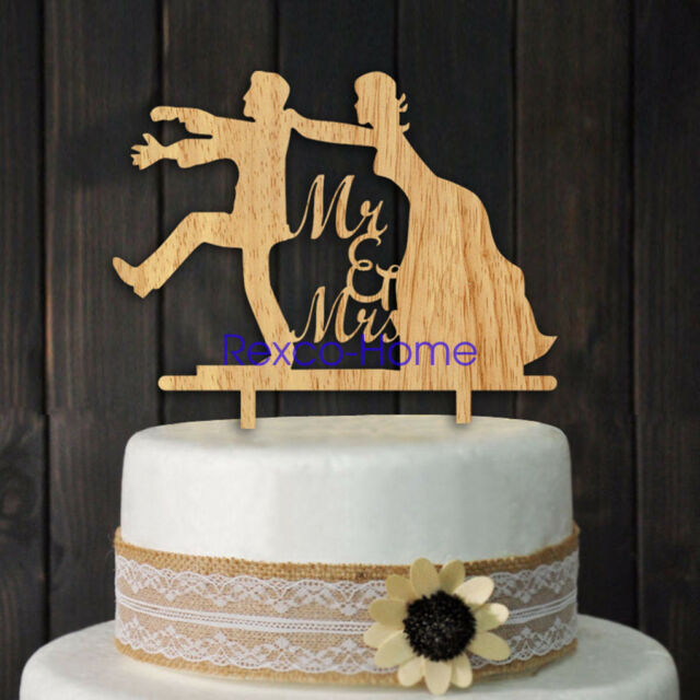 Funny Wedding Wooden Cake Topper Pick Mr Mrs Anniversary Party