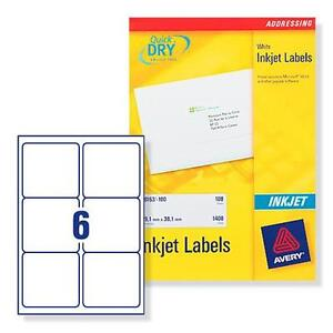 avery j8166 100 inkjet printer labels 6 per a4 sheet ebay