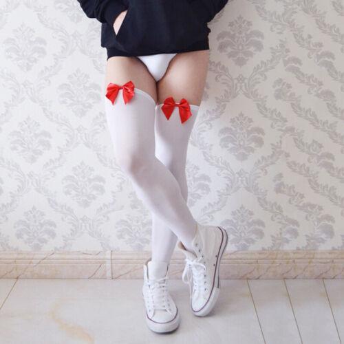 Enge Anprobe Socken Elastisch Stockings Herren Bogenknoten Oberschenkelhöhe