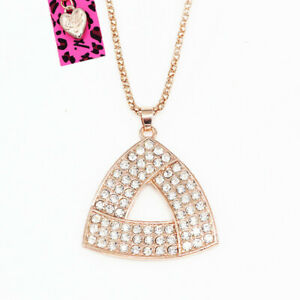 Women-039-s-Fashion-Crystal-Triangle-Pendant-Sweater-Chain-Betsey-Johnson-Necklace