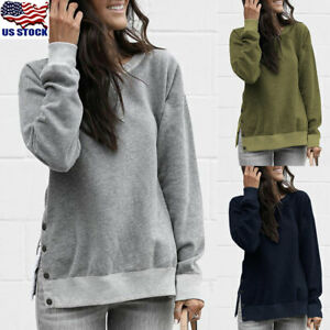 Womens-Long-Sleeve-Side-Button-Sweatshirt-Round-Neck-Pullover-Jumper-Tops-Blouse