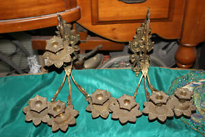 Antique Victorian Brass Metal 4 Arm Wall Sconce Candle ... on Wall Sconces That Hold Flowers id=60125