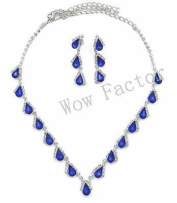 Diamante Sapphire Blue Silver Plated Necklace Wedding Prom Costume Jewellery Set