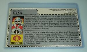 1986 GI Joe Cobra AVAC Terror Drome Firebat Pilot v1 Figure Uncut File Card