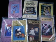 Lot of 7 Craft Sewing Patterns Cows Dolls Witch Lamb Elephant Giraffe & Quilt