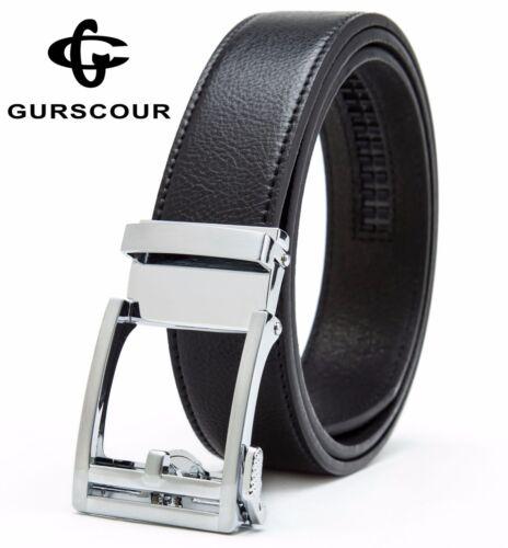 Gurscour Mens Sliding Automatic Ratchet Buckle Business Leather Belt 35mm Black