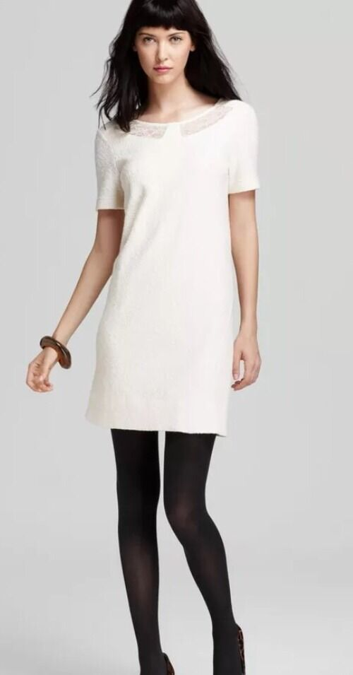 NWT Marc By Marc Jacobs Cream Wool Dress With Lace. Größe M
