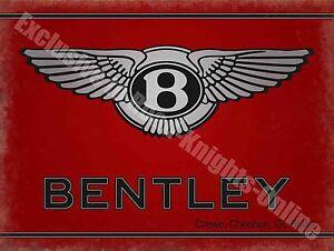 Bentley Motors 186 Vintage Garage Classic Car Advertising, Large Metal Tin Sign