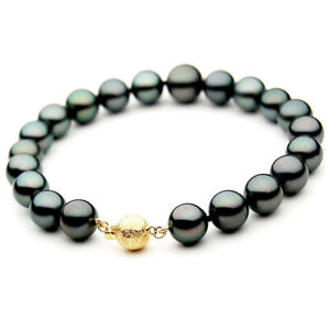 Pacific-Pearls-Genuine-9-11mm-Tahitian-Black-Pearl-Gold-Bracelet-Birthday-Gifts