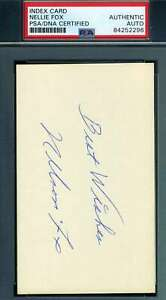 Nellie-Nelson-Fox-PSA-DNA-Coa-Autograph-Hand-Signed-3x5-Index-Card