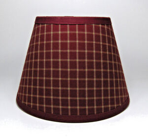 Country primitive burgundy plaid window homespun fabric lampshade image is loading country primitive burgundy plaid window homespun fabric lampshade aloadofball Images