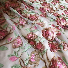 Branches Blossoms 3D Embroidery 100% Polyester 2 Way Stretch Mesh 54 Fabric