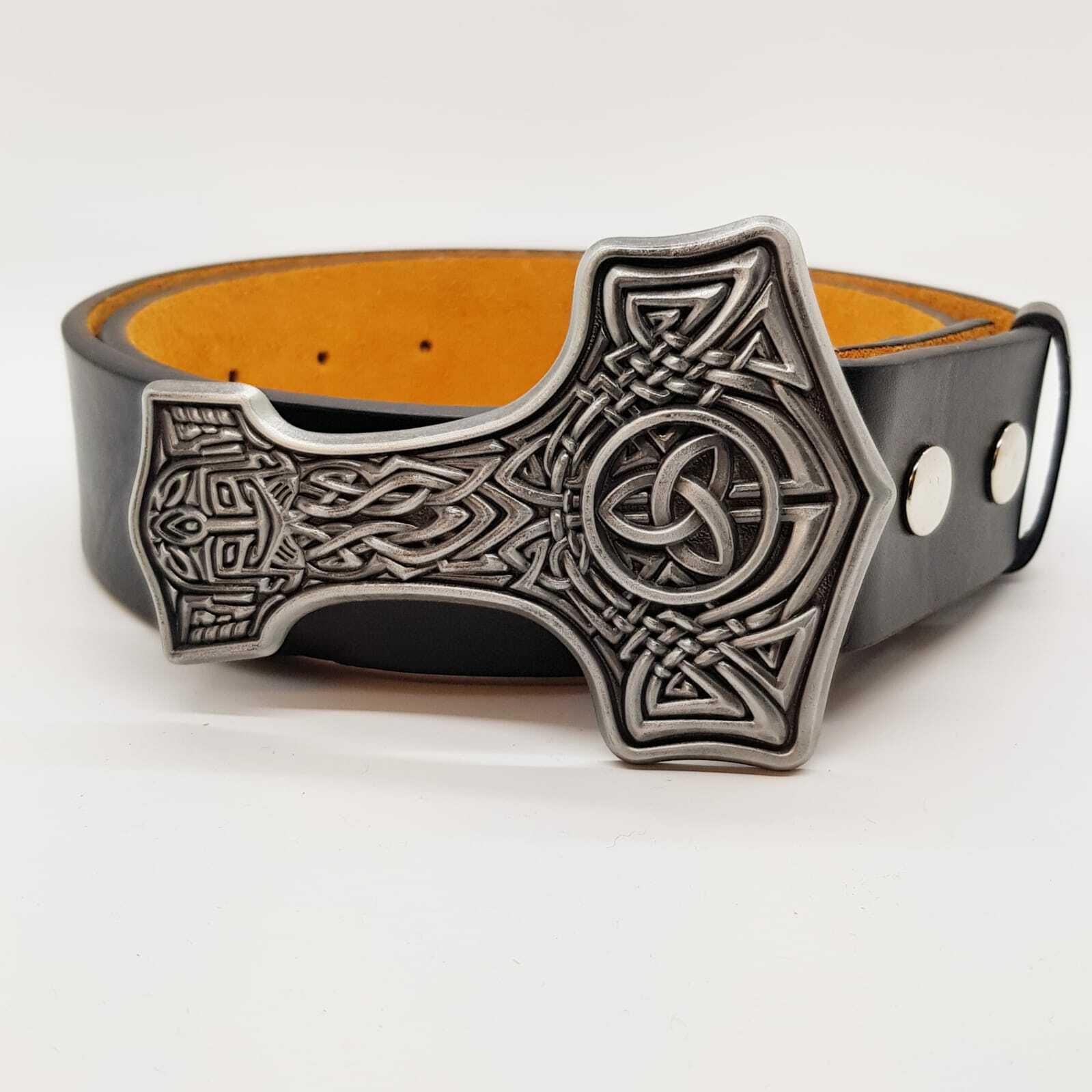 Thors Hammer Belt & Buckle Mjolnir Viking Odin Celtic Knotwork Pagan feeanddave