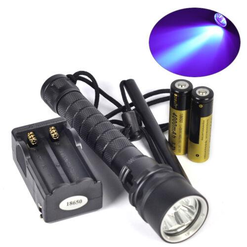 Unterwasser 100M 395nm 3x XPE LED UV Licht Tauchen Taschenlampe 18650 Ladegerät