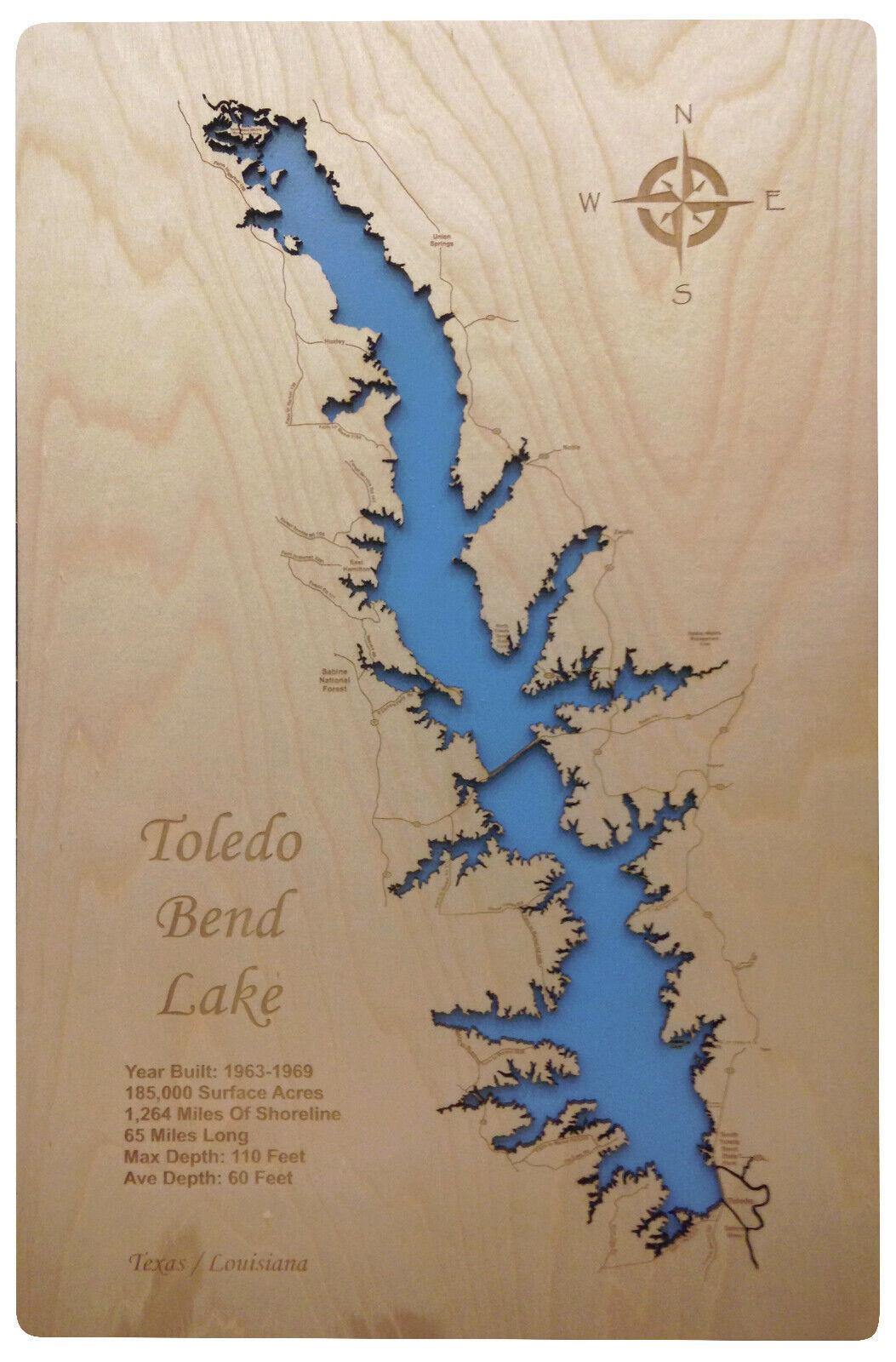 Wood Laser Cut Map of Toledo Bend Lake, TX   LA
