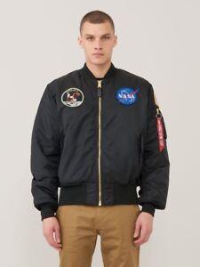 167f943b9b3 ALPHA INDUSTRIES MA-1 NASA APOLLO FLIGHT JACKET BLACK NYLON MA1 ...