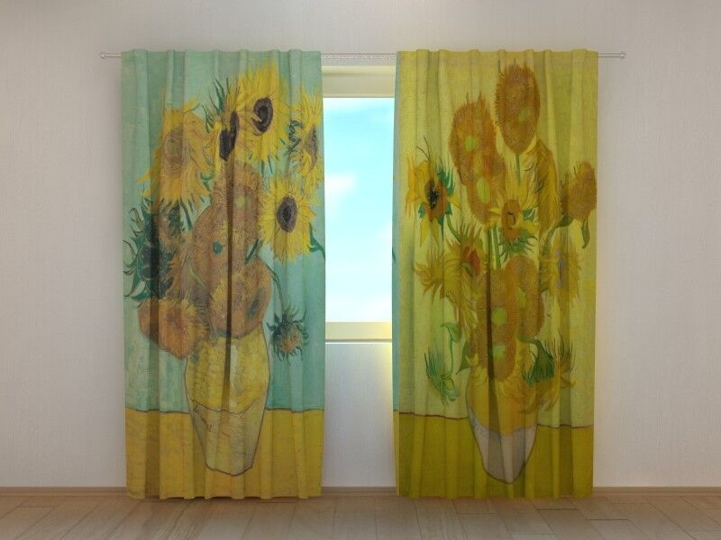 Living Room Curtain Art Vincent van Gogh Sunflowers Floral Printed Wellmira 3D
