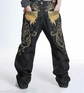 Hot-Mens-Gold-Thread-Jeans-Embroidery-Denim-Baggy-Loose-Hip-Hop-Streetwear-Pants