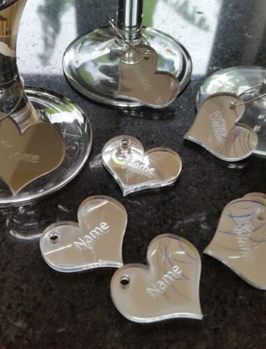 PERSONALISED ENGRAVED HEART WINE GLASS CHARM WEDDING HEN BABY SHOWER PINK SILVER