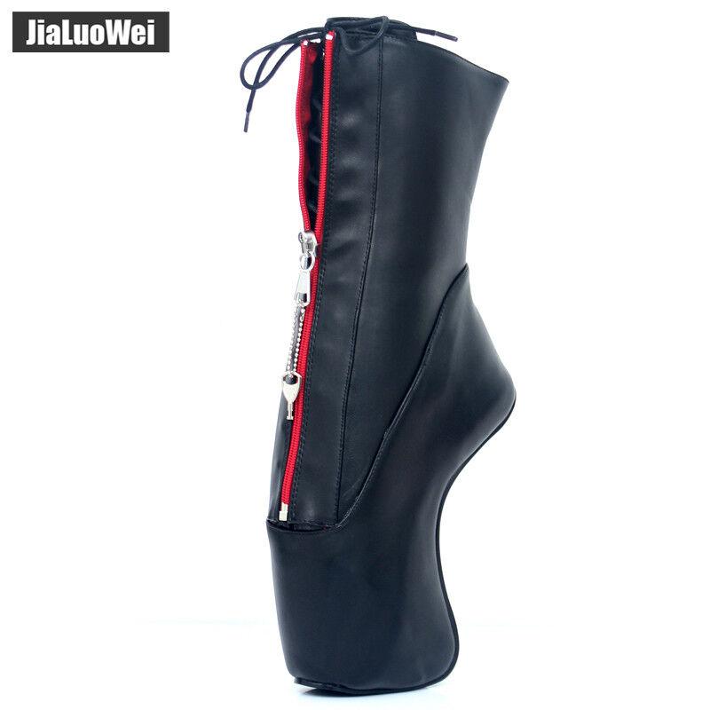 7  Super High Hoof Heel Heel Heel Wedge Heelless Sole Sexy Lockable Zip Ankle Ballet Boots 1fc546