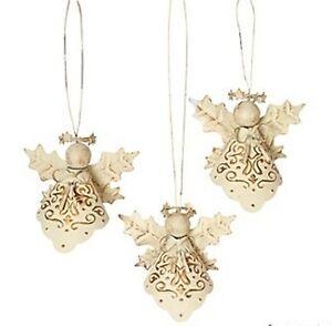 3-GORGEOUS-Antique-White-Metal-Angel-Ornaments-Christmas-Decor