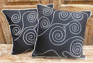 Balinese-Cotton-Cushion-Covers-Black-White-Hand-Made-Embroidery-pair-40cm