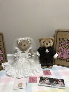 TWO-BEARLY-PEOPLE-1992-Victorian-Bride-amp-Groom-14-Wedding-BEARS-Stands-Boxes