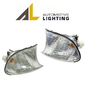 For-BMW-E46-Pair-Set-of-Front-Left-Right-Turn-Signal-Lights-w-White-Lens-AL-OEM