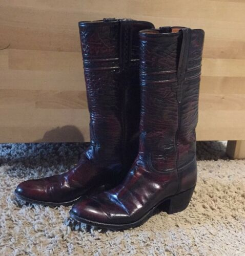 Lucchese Black Cherry Goat Leather Western Cowboy