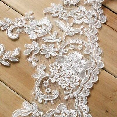 1 inch wide embroidered Beautiful Flower Lace trim selling by yard//select color