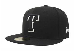 30b8710cb984a New Era 59Fifty Baseball Cap Texas Rangers Black White Outline ...